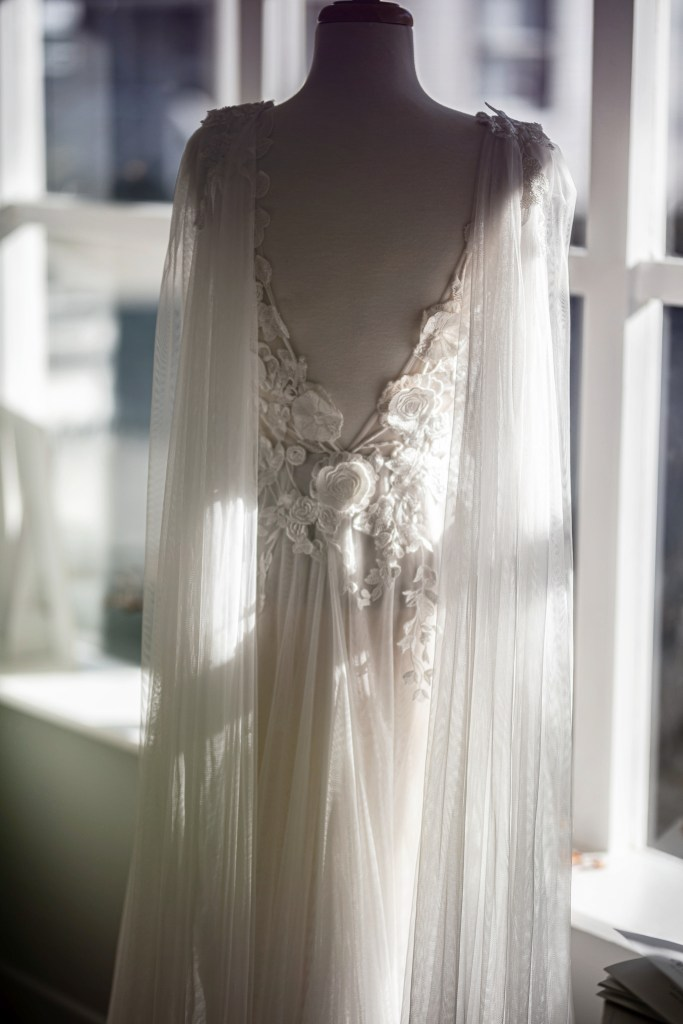 A wedding gown in the boutique at White Silk Bridal