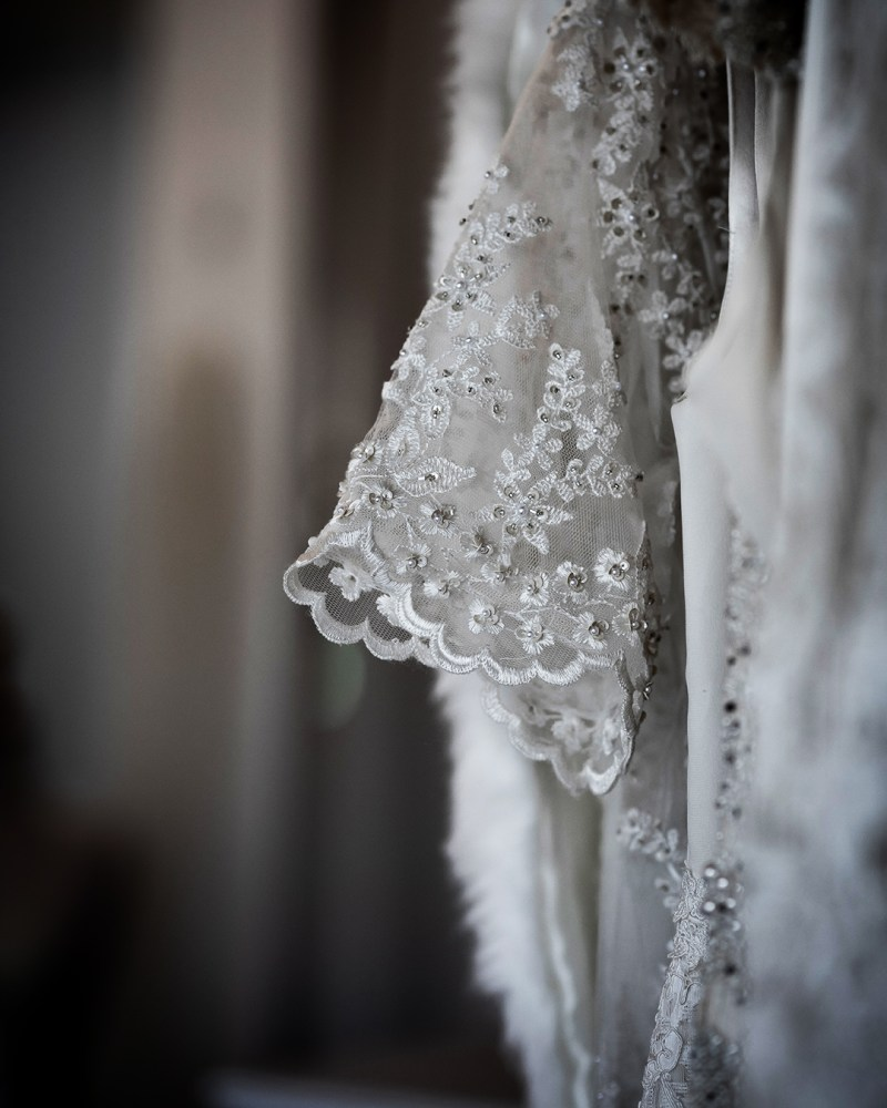 A sleeve of a wedding gown in White Silk Bridal Couture boutique in Tauranga