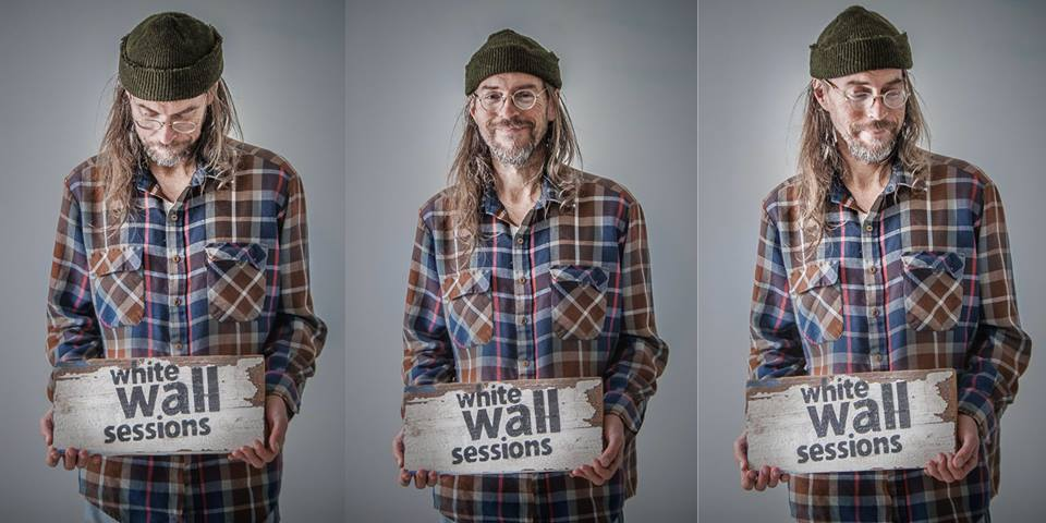 3 images of Duluth's Charlie Parr holding an apple box stating The White Wall Sessions