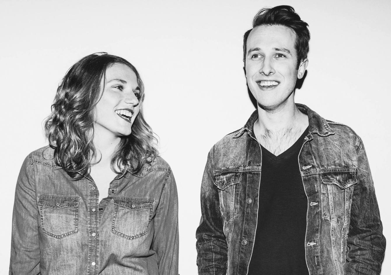 Sarah Vos and Daniel Wolff of Dead Horses smile as the look away from the camera