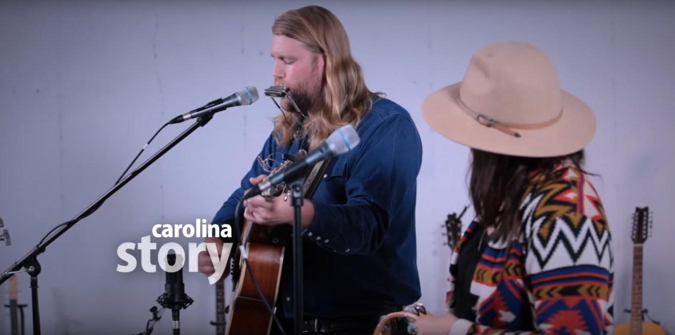 The folk duo Carolina Story perform at a studio