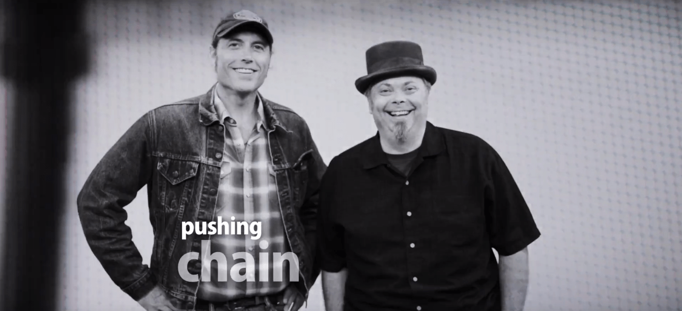 Bump Blomberg and Adam Moe of Pushing Chain put on a big smile at The White Wall Sessions