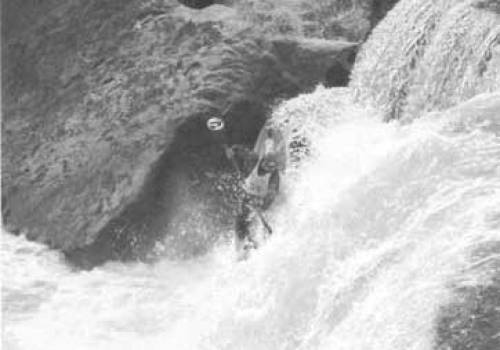 A competitor free-wheeling the falls during the 1999 race