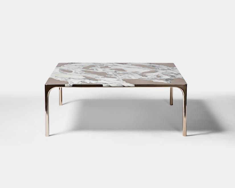 marble and bronze table, by gt2P at Friedman Benda
