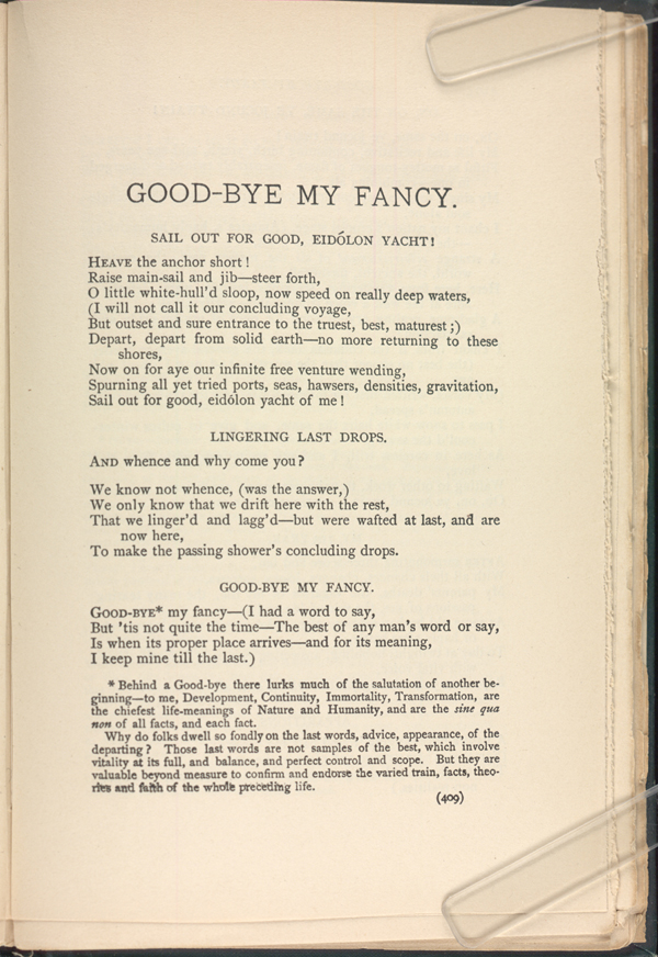 Good Bye My Fancy Leaves Of Grass 1891 1892 The
