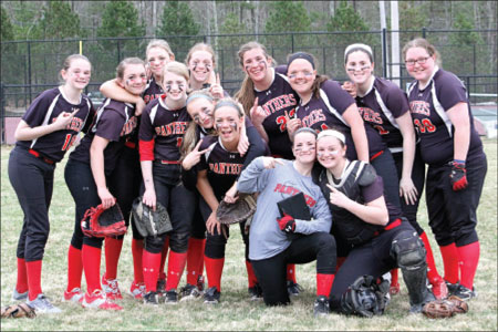 W-H celebrates the team's 5-3 Opening Day win over Rockland April 14. A 13-2 rout over the same team Monday gave the Lady Panthers a 3-0 record.                                                               Photo by Sue Moss