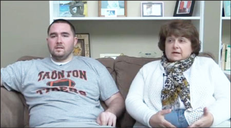 PAINFUL STORY: Former Taunton High four-sport standout Cory Palazzi and his mother Lori Gonsalves, who spoke at W-H's Athletic First Night Sunday, Aug. 23 are seen in a public service video for the Taunton Opiate Task Force.                              Image/YouTube