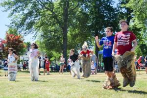 9-10 year olds sack races  july7