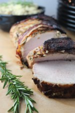 rosemary pork tenderloin, balsamic rosemary pork tenderloin, paleo pork tenderloin, bacon wrapped pork tenderloin, bacon wrapped herb crusted pork tenderloin, recipes, paleo, herb crusted pork recipe