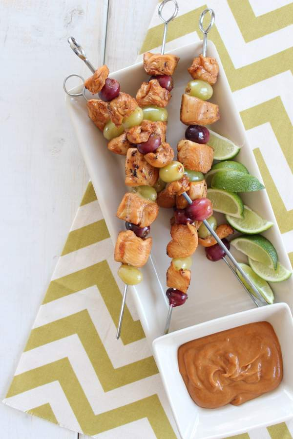 Chicken and Grape Skewers with Peanut Sauce