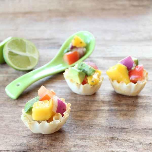 Avocado Mango Salsa Fillo Baskets
