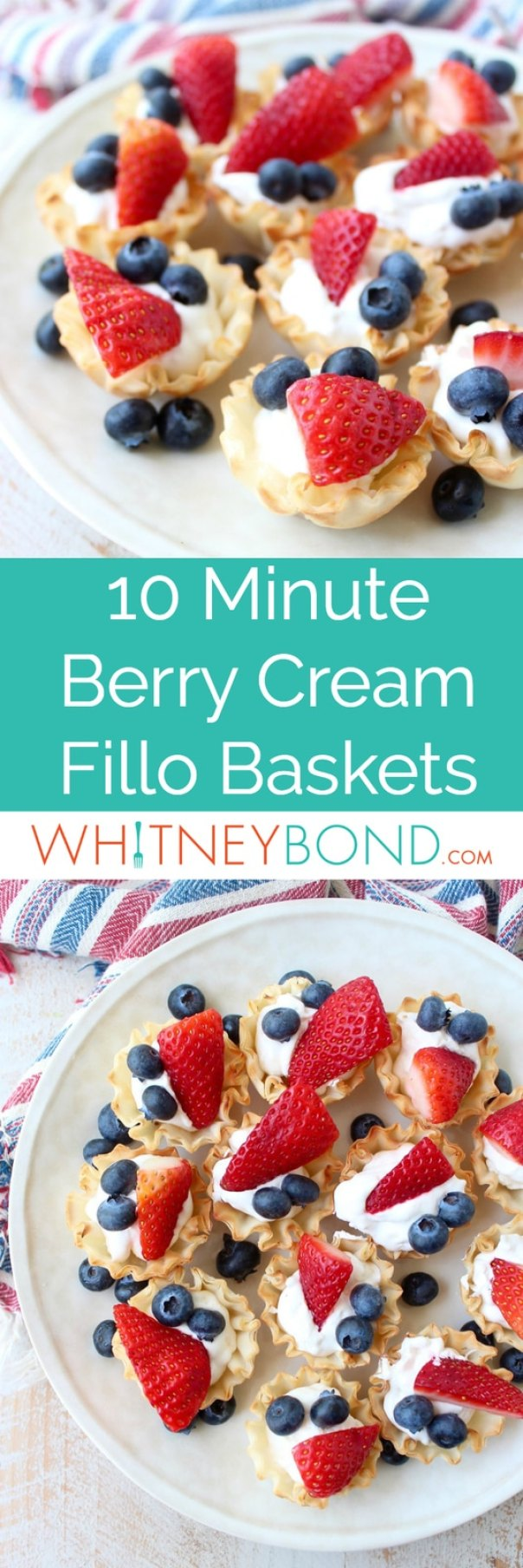 Berry Cream Fillo Baskets are a deliciously simple dessert, made in only 10 minutes, they're perfect for Memorial Day, 4th of July or Summer BBQ's!