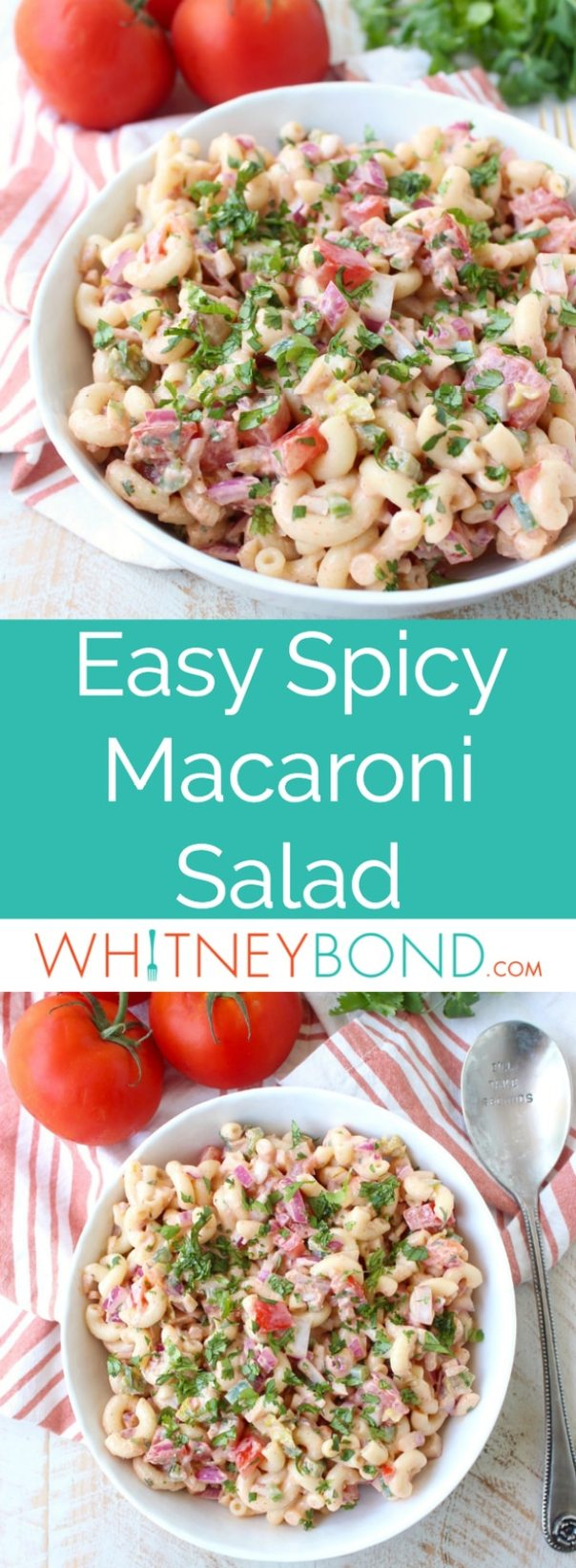 This spicy macaroni salad recipe gives a flavorful kick to a traditional pasta salad with the addition of jalapenos, cayenne pepper & buffalo sauce!