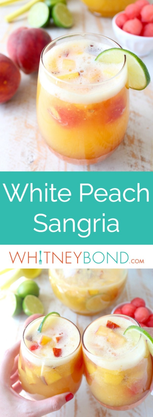 This white peach sangria is the perfect summer cocktail recipe combining refreshing white wine with fresh peaches, nectarines and lime juice!