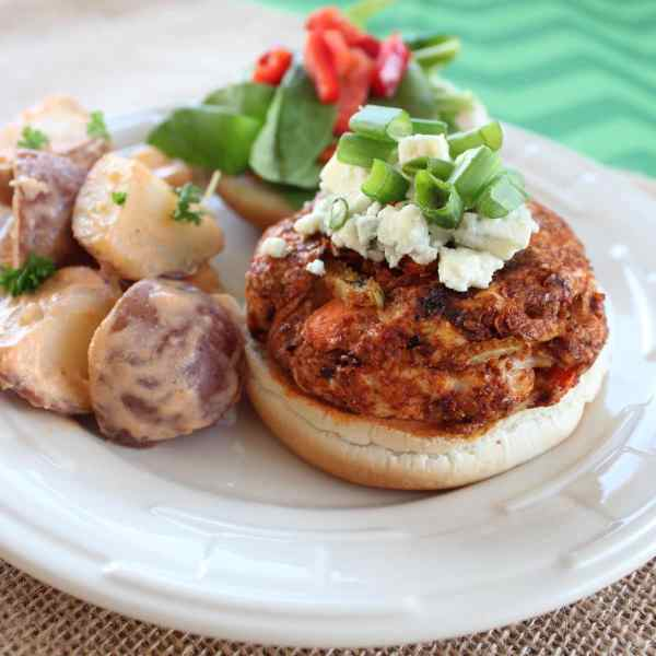 Buffalo Chicken Burgers with Buffalo Potato Salad