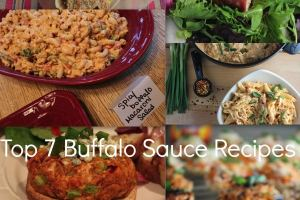 buffalo chicken, spicy buffalo macaroni salad, buffalo chicken burger, buffalo pickle chips, buffalo cheesy penne pasta, buffalo chicken pot pies, recipes, buffalo sauce