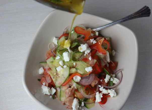 Cucumber Prosciutto Greek Salad
