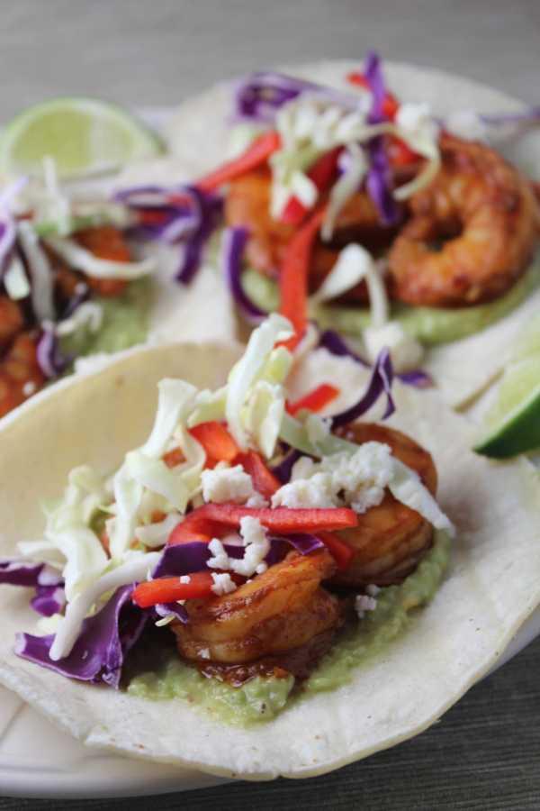 Grilled Shrimp Tacos with Red Pepper Lime Slaw