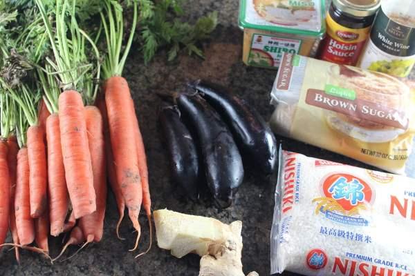 Sweet Miso Vegetable Rice Bowl Ingredients