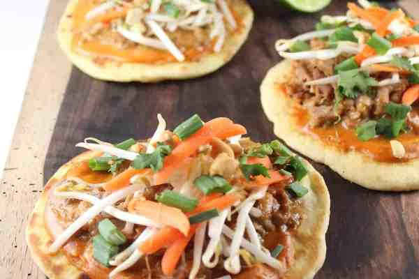 Thai Peanut Pulled Pork Pizzas