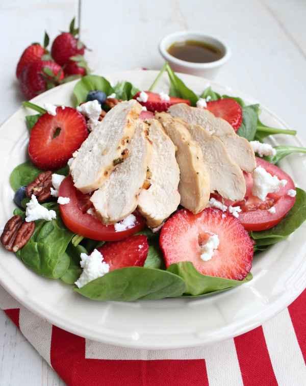 Grilled Chicken Strawberry Ricotta Spinach Salad