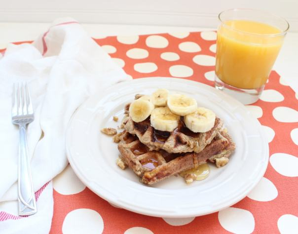 Gluten Free Dairy Free Banana Walnut Waffles