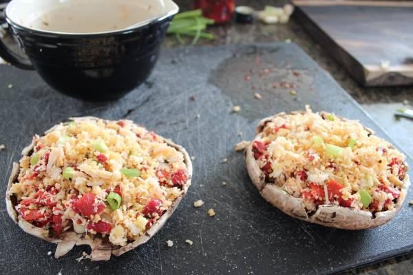 Mediterranean Crab Stuffed Mushrooms