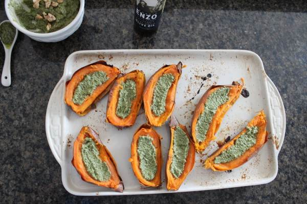 Sage Pesto Sweet Potato Skins