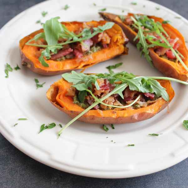 Sweet Potato Skins with Sage Pesto and Bacon