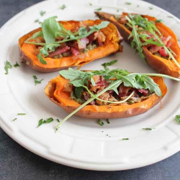 Paleo Sweet Potato Skins with Sage Pesto and Bacon