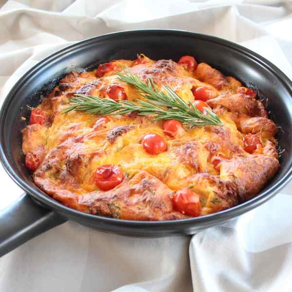 Tomato Herb Cheddar Skillet Bread Pudding