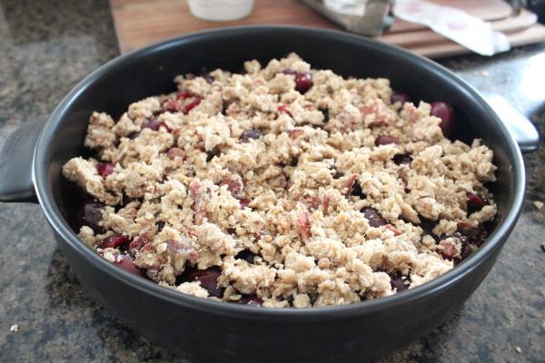 Cherry Bourbon Bacon Crumble Recipe