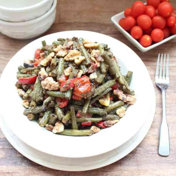 Vegan Roasted Green Bean Pesto Salad