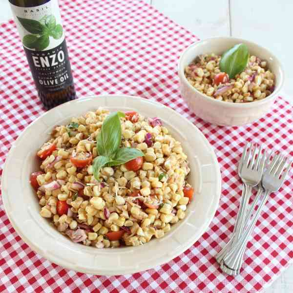 Italian Corn Salad with Basil Infused Olive Oil