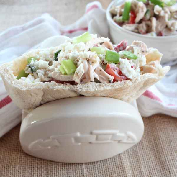 Greek Chicken Salad Pita Sandwich