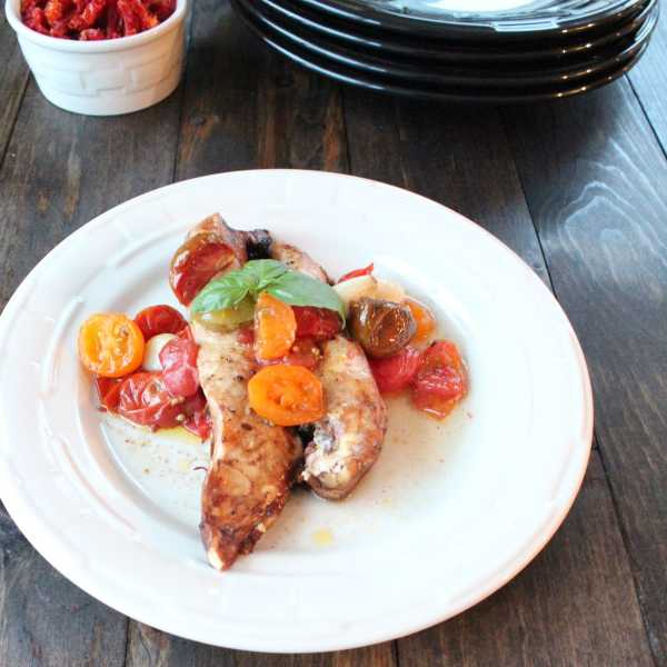 Roasted Balsamic Tomatoes and Chicken