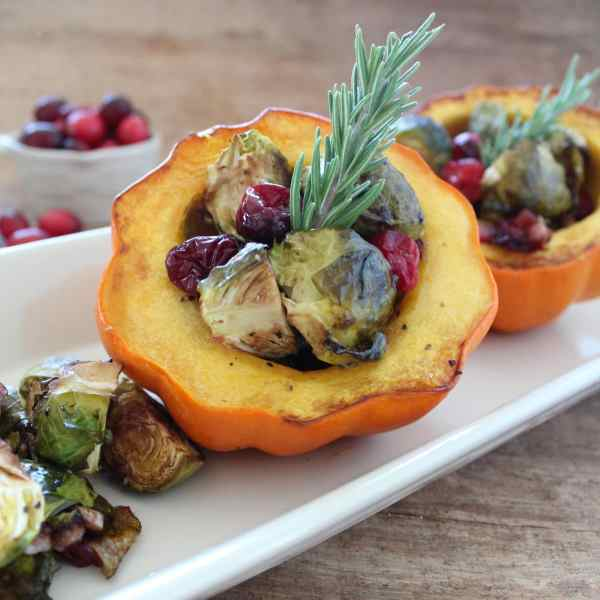 Brussels Sprout Stuffed Acorn Squash