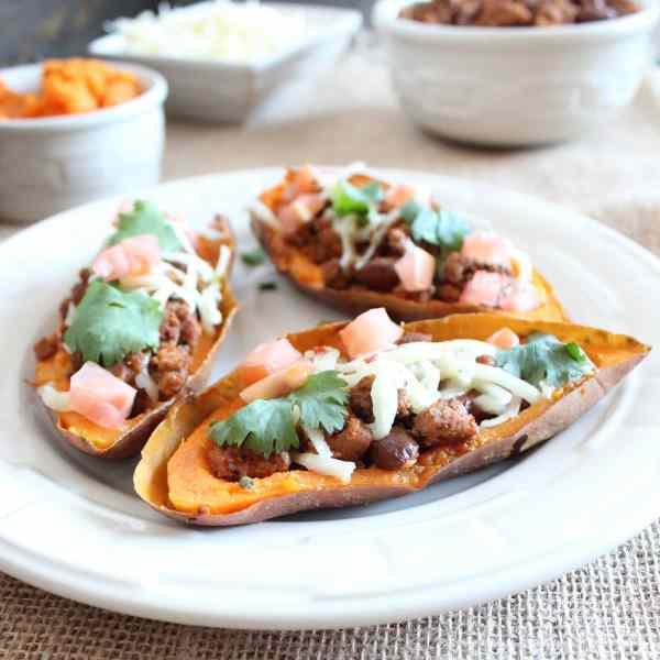 Sweet Potato Skins with Turkey Chili