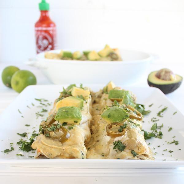 Chicken Enchiladas with Avocado Sriracha Sauce