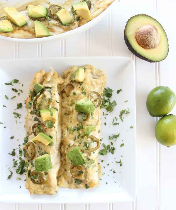 Chicken Enchiladas with Creamy Avocado Sauce