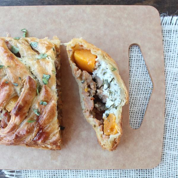 Butternut Squash and Sausage Strudel