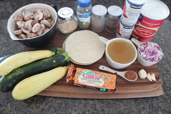Mushroom Squash Vegetarian Enchilada Ingredients