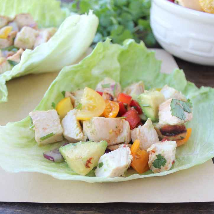 Grilled Chili Lime Chicken Taco Lettuce Cups