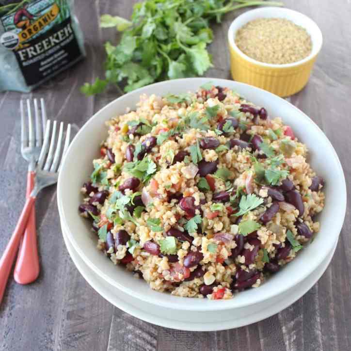 One Pot Vegan Mexican Freekeh Recipe