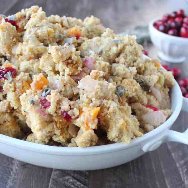 Gluten Free Cranberry Butternut Squash Cornbread Stuffing