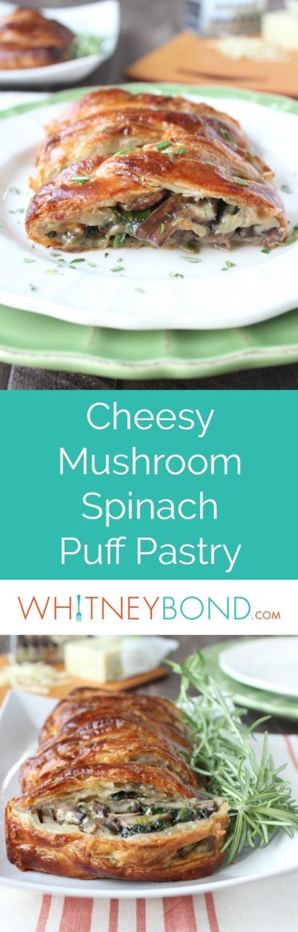 This vegetarian puff pastry recipe is filled with sautéed mushrooms, spinach, and cheddar cheese. Perfect as an appetizer or meatless Monday dinner.