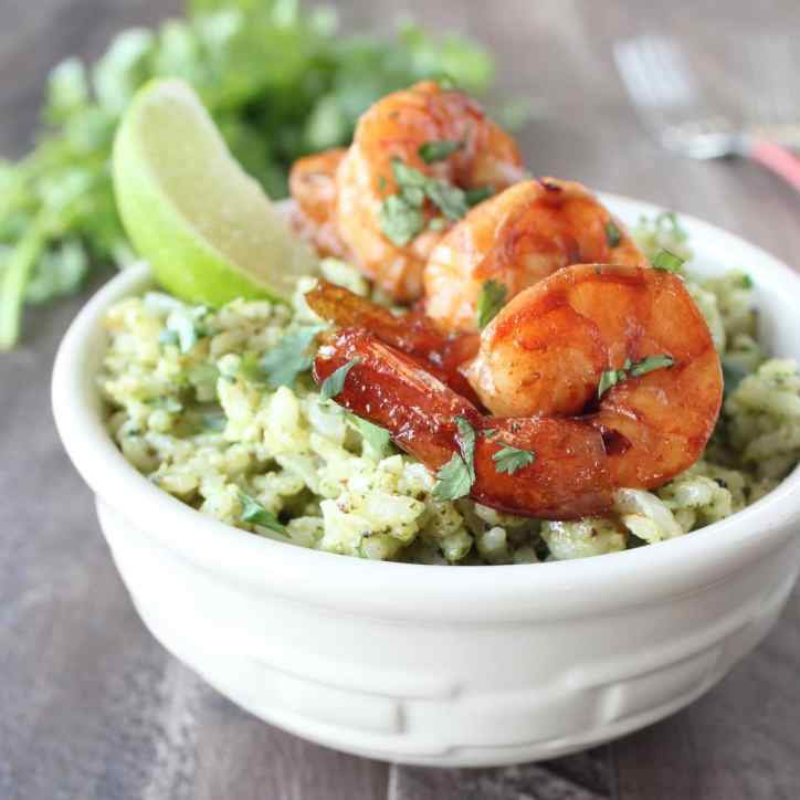 Cilantro Lime Pesto Risotto with Chili Lime Shrimp