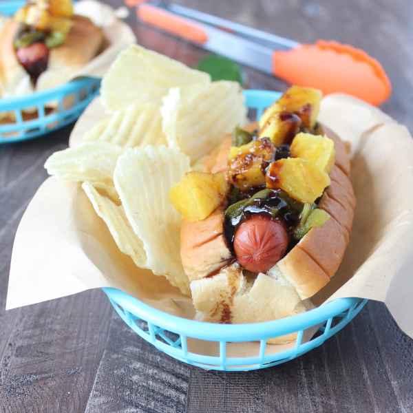 Grilled Hawaiian Pineapple Teriyaki Hot Dog Recipe