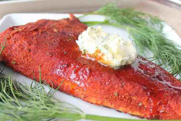Blackened Grilled Salmon with Lemon Herb Compound Butter