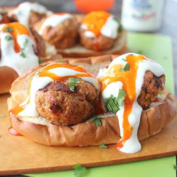 Buffalo Turkey Meatballs and Blue Cheese Subs